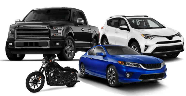 black truck, white SUV, blue car, black motorcycle